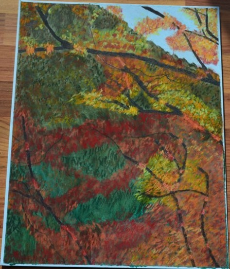 my painting of Bukhansan National park sunny red trees