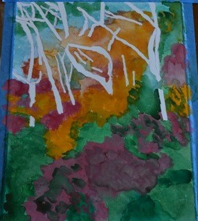 my painting of Palgonsan colorful forest interim 1