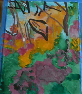 my painting of Palgonsan colorful forest interim 2