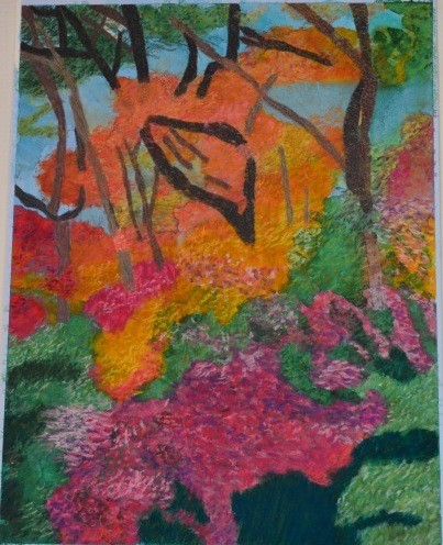 my painting of Palgonsan Provincial Park fall foliage