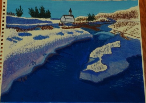 my painting of Thingvellir river and church