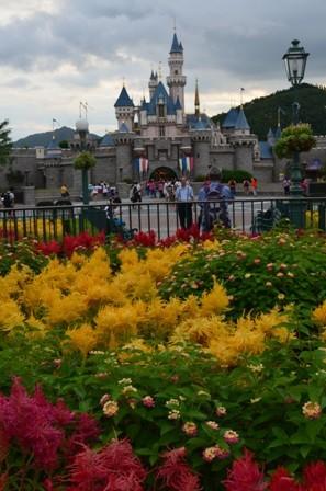 Hong Kong Disneyland castle with flowers