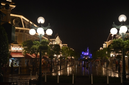 Hong Kong Disneyland Main Street and castle night view