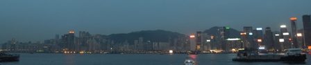 Hong Kong night island skyline