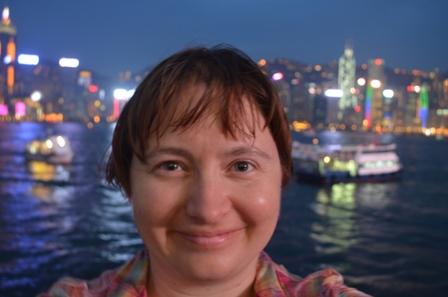 Hong Kong night selfie skyline