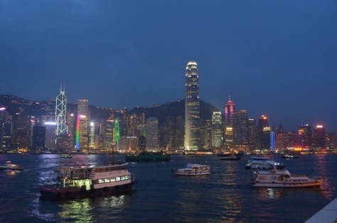 Hong Kong night skyline colorful
