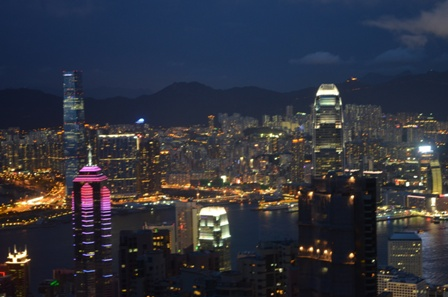 Hong Kong The Peak night skyline