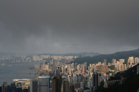 Hong Kong The Peak skyline cloudy