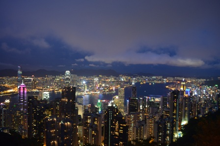 Hong Kong The Peak skyline wide