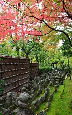 Kyoto Arashiyama Arashion Temple gravestones & red tree
