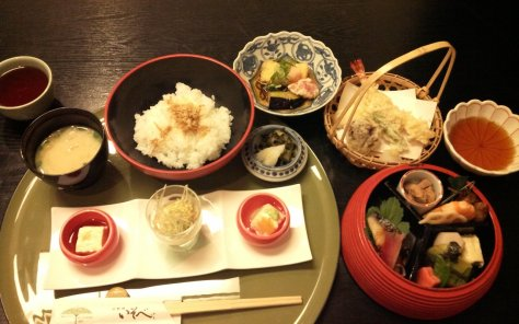 Kyoto food Isobe restaurant Maruyama with tempura