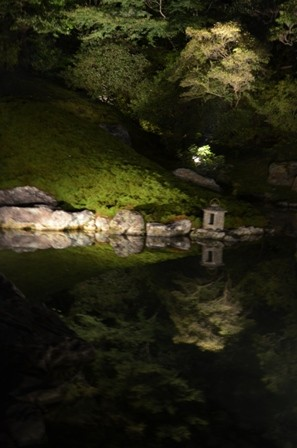 Kyoto Night Shorein Temple lake reflection