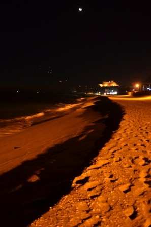 Gangneung Jeongdongjin Beach with moon